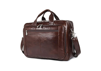 Augus Leather Briefcases for Men, Waterproof Travel Messenger Duffle Bags 17 Inch Laptop Bag
