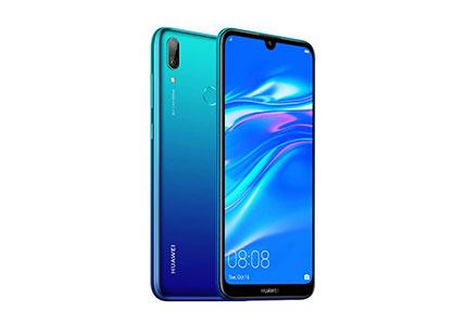 """Huawei Y7 2019 (32GB, 3GB) 6.26"""" Dewdrop Display, 4000 mAh Battery, 4G LTE GSM Dual SIM Factory Unlocked Smartphone (Dub-LX3) - International Version, No Warranty (Blue)"""
