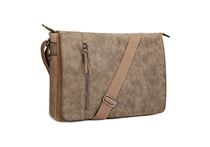 Laptop Messenger Bag 16.5 inch for Men and Women, Tocode Vintage Canvas Waterproof PU Leather Large Crossbody Shoulder Bag Computer Laptop Bag, Messenger Bag for Business School