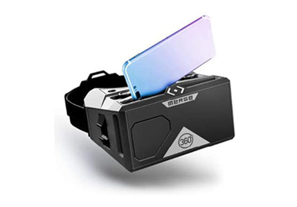 MERGE VR Headset - Augmented Reality and Virtual Reality Headset, Play Educational Games and Watch 360 Degree Videos, STEM Toy for Classroom and Home, Works with iPhone and Android (Moon Grey)