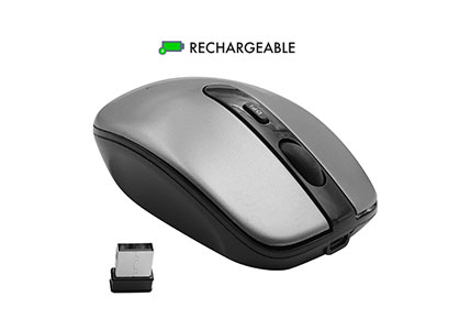 Macally Rechargeable Wireless Mouse with 3 Button, Smooth Scroll Wheel, 3 Adjustable DPI, 2.4G Dongle Receiver, Compatible with Windows PC Laptop Computer, Apple MacBook Pro/Air, iMac, Mac Mini, etc.