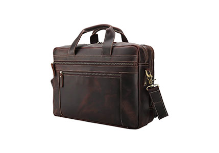 Texbo 17 Inch Genuine Leather Laptop Briefcase Messenger Bag Tote Fit Business Trips with YKK Zippers