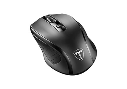 VicTsing MM057 2.4G Wireless Portable Mobile Mouse Optical Mice with USB Receiver, 5 Adjustable DPI Levels, 6 Buttons for Notebook, PC, Laptop, Computer - Black